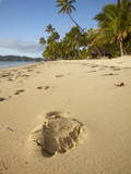 Footprint on Beach, Plantation Island Resort, Malolo Lailai Island, Mamanuca Islands, Fiji Photographic Print by David Wall
