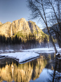 Yosemite Falls Reflection in Merced River, Yosemite, California, USA Photographic Print by Tom Norring