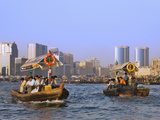Ferry Boats and Skyline Along Khor Dubai (Dubai Creek), Dubai, United Arab Emirates Photographic Print by Keren Su