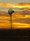 Sunrise with Windmill, Cimarron, New Mexico, USA Photographic Print by Maresa Pryor