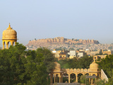Cityscape of Traditional Architecture, Jasailmer Fort in the Distance, Jaisalmer, Rajasthan, India Photographic Print by Keren Su