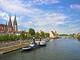 Old Town Skyline with St. Peter's Cathedral and Danube River, Regensburg, Germany Photographic Print by Miva Stock