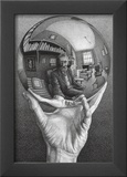 Hands with Sphere Prints by M. C. Escher