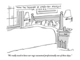 """We really need to have our rugs vacuumed professionally one of these days - New Yorker Cartoon Giclee Print by Michael Crawford"
