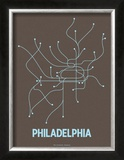 Philadelphia (Charcoal Brown & Light Blue) Prints by  Line Posters