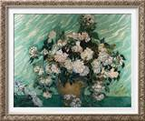 Roses Framed Canvas Print by Vincent van Gogh