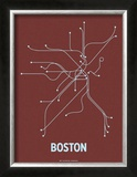 Boston (Maroon & Pale Blue) Prints by  Line Posters