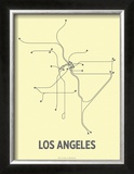 Los Angeles (Light Yellow & Dark Gray) Print by  Line Posters