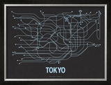 Tokyo (Black Licorice & Light Blue) Print by  Line Posters