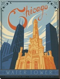 Chicago Water Tower Stretched Canvas Print by  Anderson Design Group