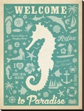 Seahorse Pattern Stretched Canvas Print by  Anderson Design Group