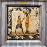 Erotic Tile Mosaic of Pan and Hamadryad from Pompeii, Nat'l Archaeological Museum, Naples, Italy Photographic Print by Miva Stock