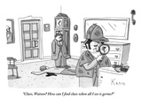 """Clues, Watson? How can I find clues when all I see is germs?""  - New Yorker Cartoon Premium Giclee Print by Zachary Kanin"