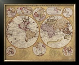 Antique Map, Globe Terrestre, 1690 Poster by Vincenzo Coronelli