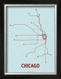 Chicago (Light Blue & Red) Prints by  Line Posters