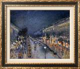 Pissarro: Paris at Night Framed Canvas Print by Camille Pissarro