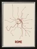 Rome (Newsprint & Maroon) Poster by  Line Posters