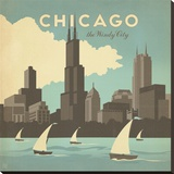 Chicago, The Windy City Square Stretched Canvas Print by  Anderson Design Group