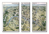 Map of Paris During the Period of the &quot;Grands Travaux&quot; by Baron Georges Haussmann 1864 Mounted Print by Hilaire Guesnu
