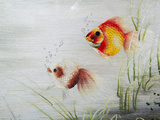 Embroidery Piece Depicting Gold Fish, Vietnam Photographic Print by Keren Su