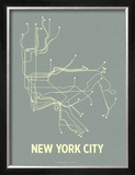 New York City (Steel Blue & Yellow) Art by  Line Posters