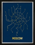 Moscow (Navy & Gold) Posters by  Line Posters