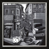 Still Life and Street Print by M. C. Escher