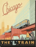 "Chicago, the ""L"" Train Stretched Canvas Print by  Anderson Design Group"