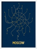 Moscow (Navy & Gold) Print by  Line Posters