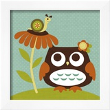 Owl Looking at Snail Poster by Nancy Lee