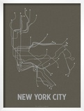 New York City (Charcoal Brown & Silver) Posters by  Line Posters