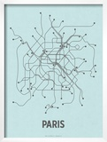Paris (Light Blue & Dark Gray) Posters by  Line Posters