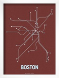 Boston (Maroon & Pale Blue) Art by  Line Posters