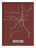 Boston (Maroon & Pale Blue) Art by  Line Posters