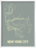 New York City (Steel Blue & Yellow) Prints by  Line Posters