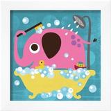 Elephant in Bathtub Poster by Nancy Lee