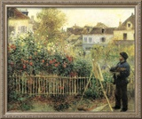 Monet Painting in His Garden at Argenteuil Art by Pierre-Auguste Renoir