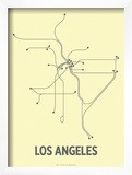 Los Angeles (Light Yellow & Dark Gray) Poster by  Line Posters