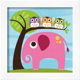 Elephant with Three Owls Print by Nancy Lee