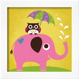 Elephant and Owl with Umbrella Prints by Nancy Lee