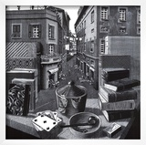Still Life and Street Poster by M. C. Escher