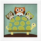 Three Owls on Turtle Print by Nancy Lee