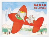 Babar en Avion Print by Laurent de Brunhoff