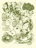 Eat More Plants Serigraph van Brainstorm