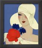 Art Deco Lady with a Large Red Flower Prints