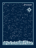 Southern Hemisphere Star Chart Serigraph by  Brainstorm