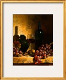 Wine Bottle, Grapes and Walnuts Posters by Loran Speck