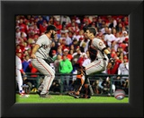 Buster Posey &amp; Brian Wilson Celebrate winning the 2010 NLCS Framed Photographic Print