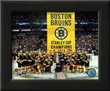 The Boston Bruins raise their 2011 Stanley Cup Chapionship Banner Framed Photographic Print