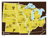 American Atlas - The Midwest Serigraph by  Brainstorm